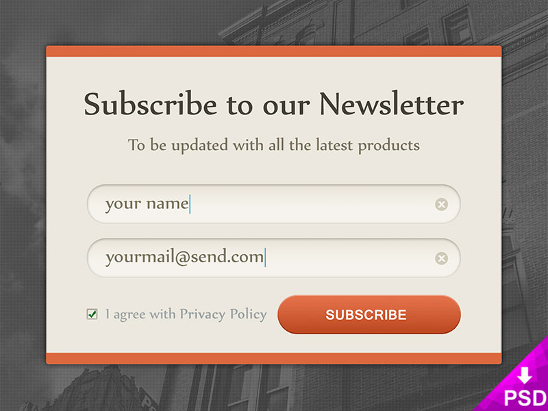 Subscribe to Newsletter Design