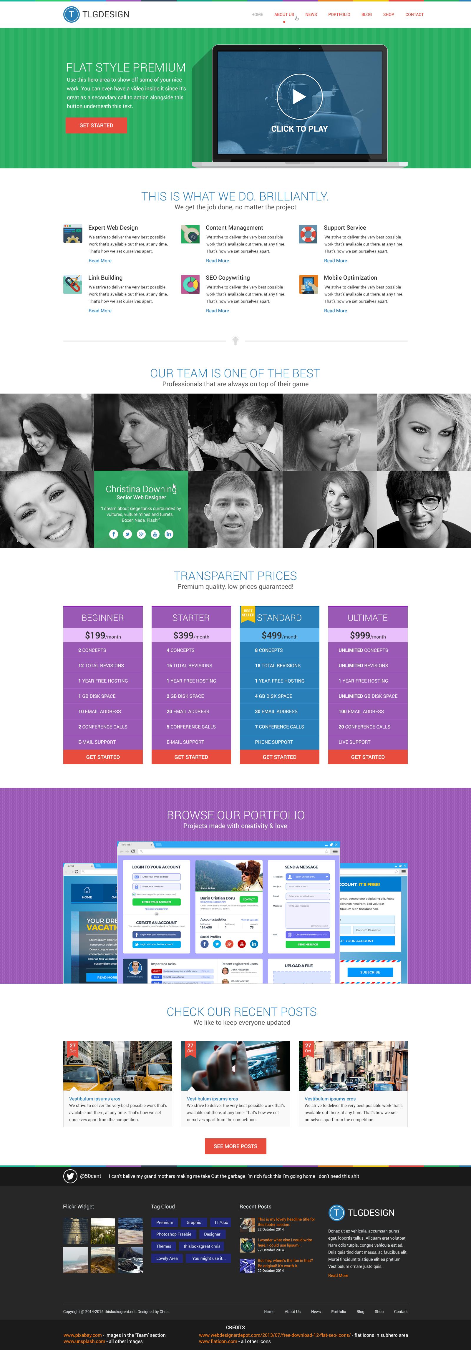 Flat Style Premium Homepage