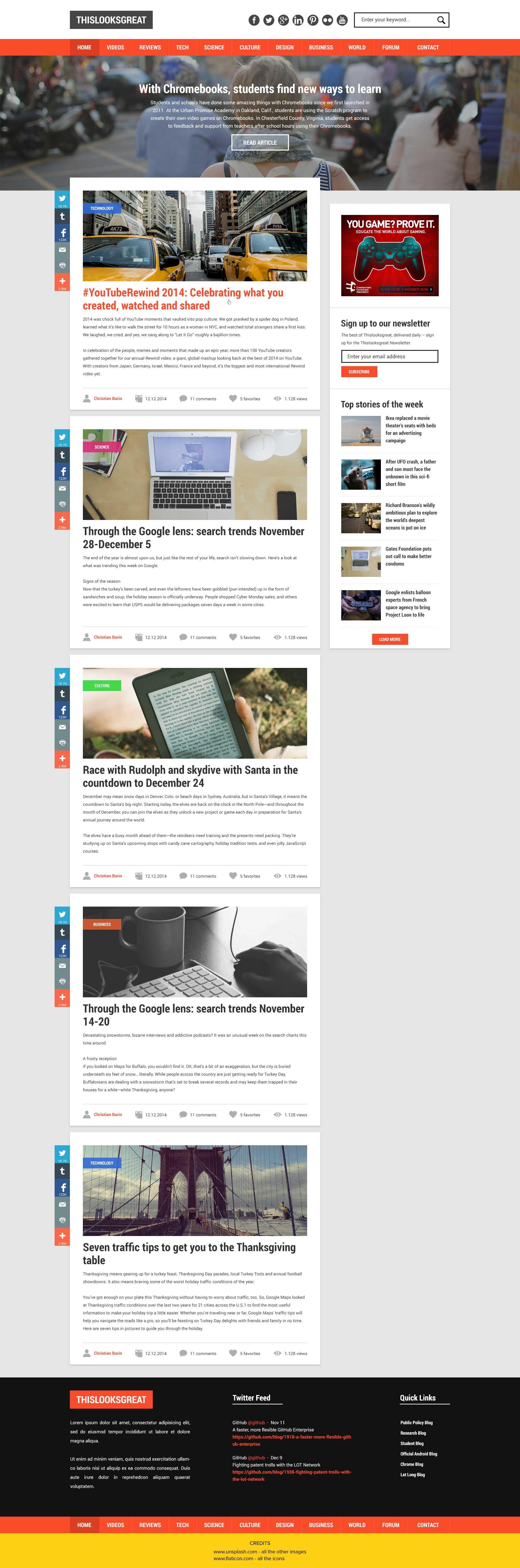 Tech News Website Design