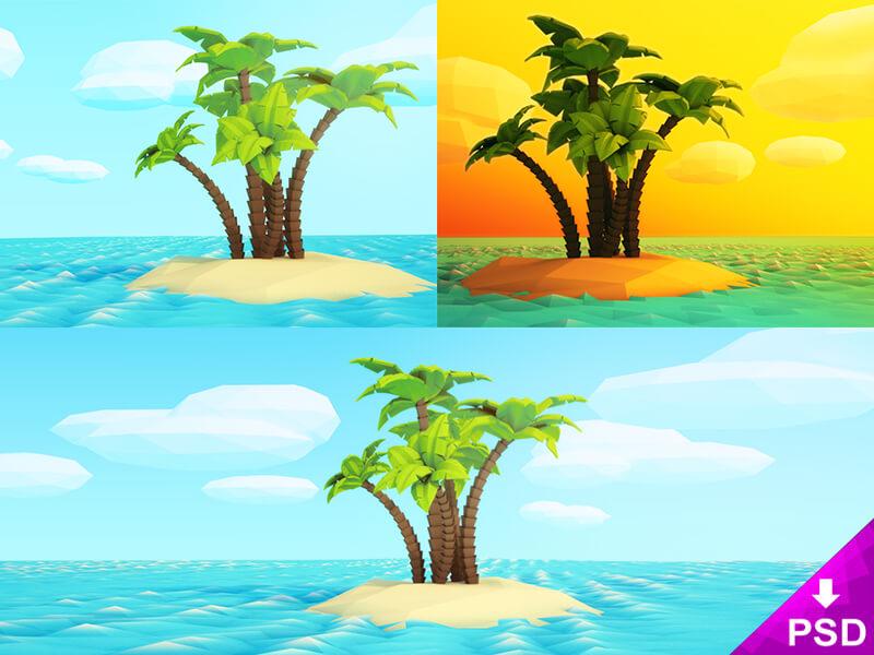 Cartoon Island Illustration