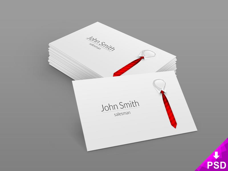 Red Tie Business Card Mockup