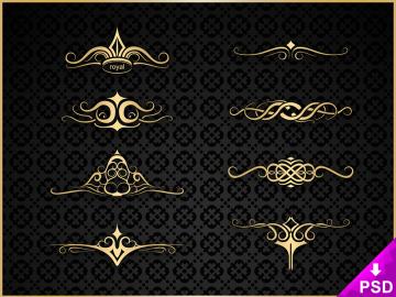 Set of 8 Royal Ornaments