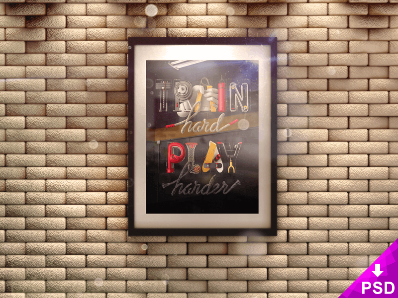 Poster in 3D Frame on Brick Wall Mock-up